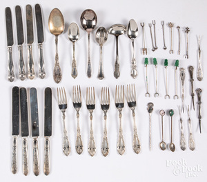 Silver, plate and silver mounted flatware.