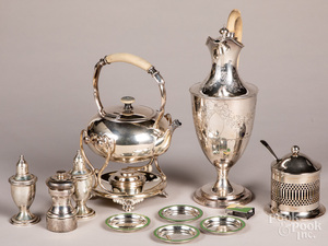 Three pieces of silver plated hollowware, etc.
