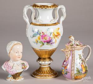 Three pieces of Meissen porcelain
