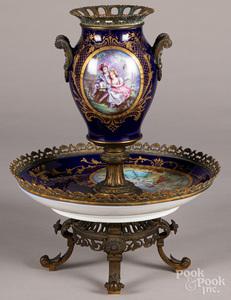 Sevres brass mounted porcelain centerpiece
