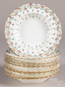Set of nine Spode porcelain soup bowls