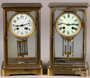 Two French Japy Freres crystal regulator clocks