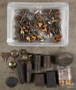 Antique clock weights, winders, parts, etc.