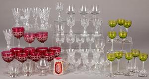 Glass stemware and cordials.