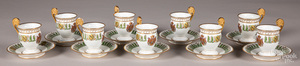 Nine Sevres cups and saucers.