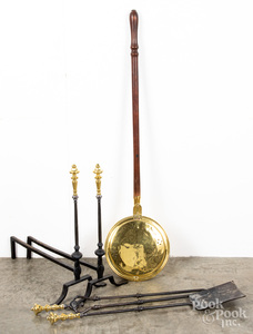 Pair of brass and iron andirons, etc.