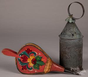 Punched tin lantern, etc.