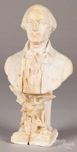 Carved stone bust of George Washington