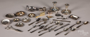 Sterling silver, plate and weighted tablewares.