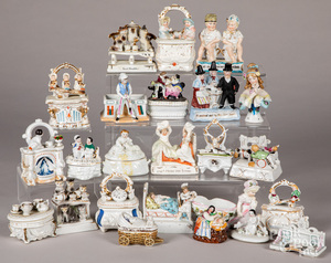 Collection of porcelain figures, faring boxes, etc