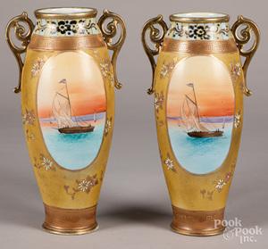 Pair of large Nippon porcelain vases