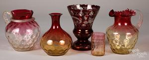 Four pieces of Amberina glass, etc.