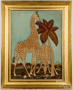 Large wool needlework of two giraffes