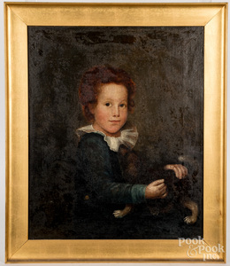 Oil on canvas portrait of a young boy and his dog