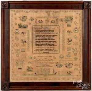 Large Chester County silk on linen sampler
