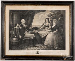 Lithograph of Washington and his Family