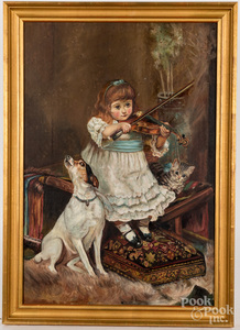 Oil on canvas portrait of a young girl and dog