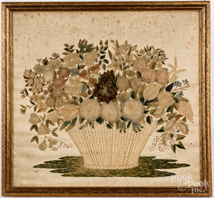 Embroidery of a basket of flowers