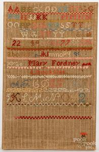 Lancaster, Pennsylvania wool on linen sampler