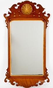 Chippendale style walnut mirror