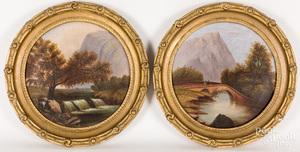 Pair of Hudson River oil on canvas landscapes