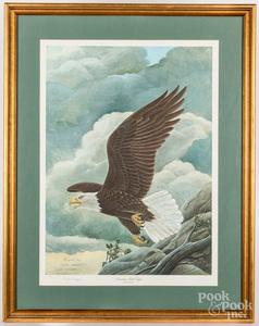 John Ruthven signed lithograph of a bald eagle