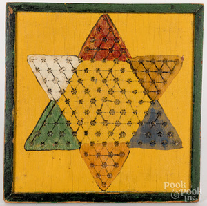 Painted Chinese checkers gameboard