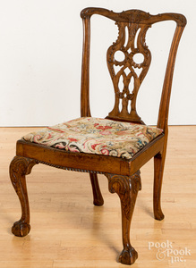 George III carved mahogany dining chair