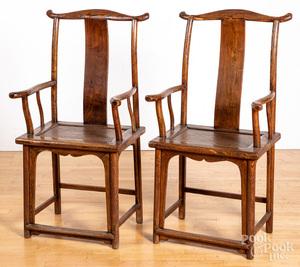 Pair of Chinese hardwood armchairs