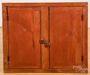 Stained pine built in cabinet