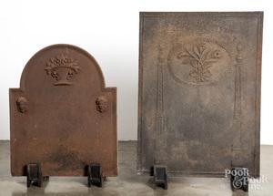 Two cast iron firebacks