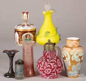 Seven pieces of decorative glass