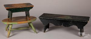 Three painted footstools