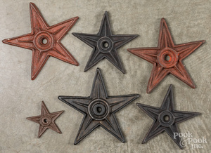 Six cast iron stars