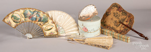 Three Victorian mother of pearl hand fans