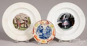 Three Staffordshire ABC plates