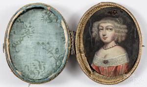 Miniature French oil on copper portrait