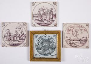 Four Delft tiles