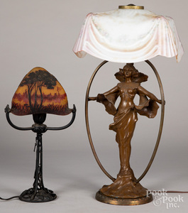 Pittsburgh art Nouveau table lamp, etc.