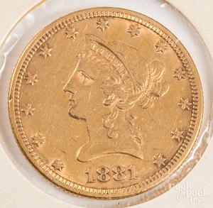 1881 ten dollar Liberty Head coin.