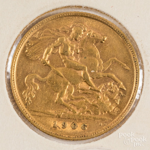 1906 Edward VII gold half sovereign.
