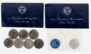 Ten Eisenhower silver dollars