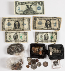 Miscellaneous coins and paper currency