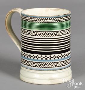 Mocha mug, with geometric black bands