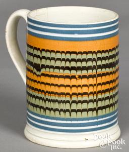 Mocha mug, with combed bands