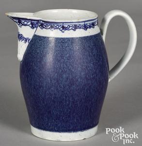 Mocha pitcher, with speckled blue glaze