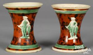 Pair of mocha spill vases