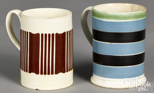 Two mocha mugs, with vertical brown bands