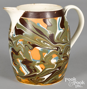 Mocha pitcher, with marbleized decoration