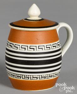 Mocha mustard pot, with engine turned design